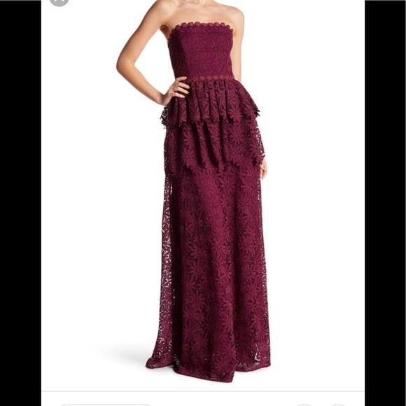 2c3491ebdc5 ZAC POSEN - Strapless Peplum Floral Crochet Gown